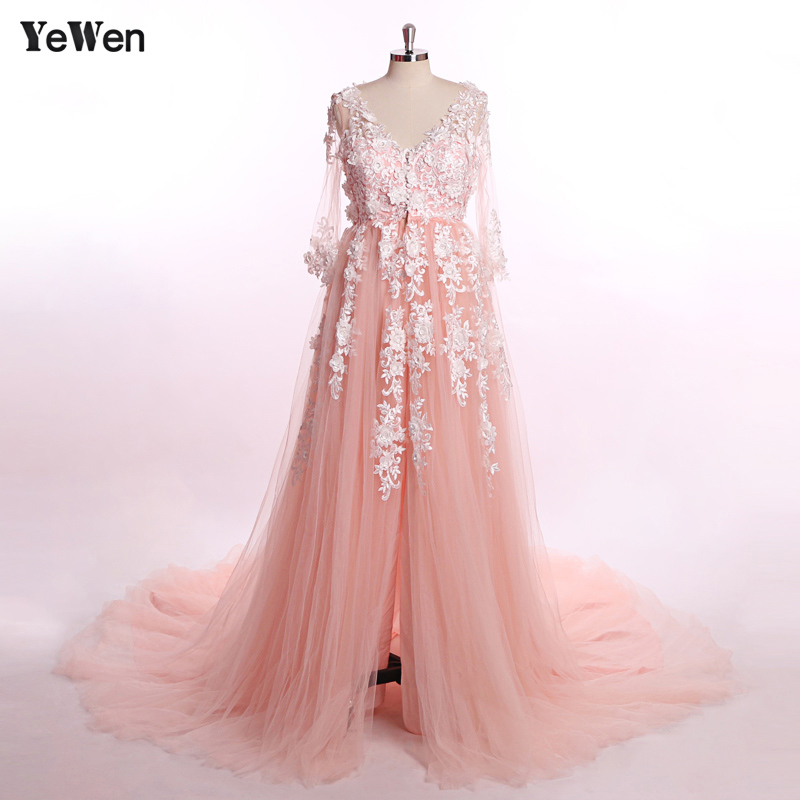 2 м поезд роскошное кружевное платье для беременных фото с длинным рукавом розовое вечернее платье для выпускного бала плюс размер 2019 торже...