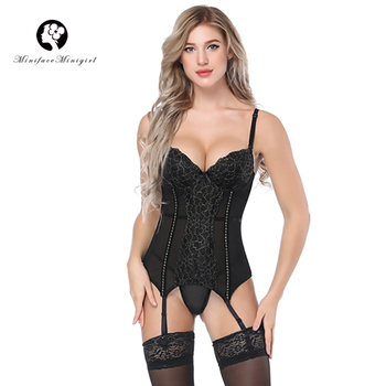 Minifaceminigirl Sexy White Lace Corsets And Bustiers Women High Quality  Lace Up Firm Female Corset Push Up Lingerie Bustier sexy lace corsets and bustiers women high quality lace up firm female corset push up lingerie bustier sheer mesh overbust corset