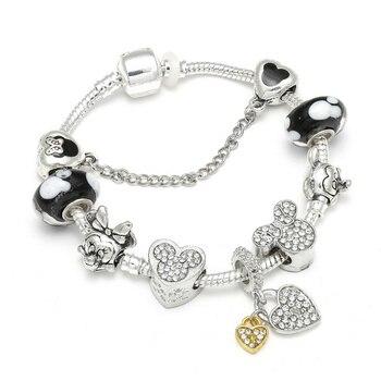 Cute Mickey Mouse Themed Bracelet Bracelets Jewelry New Arrivals Women Jewelry Metal Color: 6 Length: 20cm