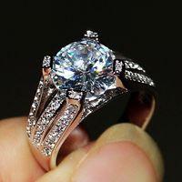 Victoria Wieck Brand Desgin Diamonique Stunning Jewelry 4CT Round Cut Topaz 925 Silver CZ Diamond Wedding