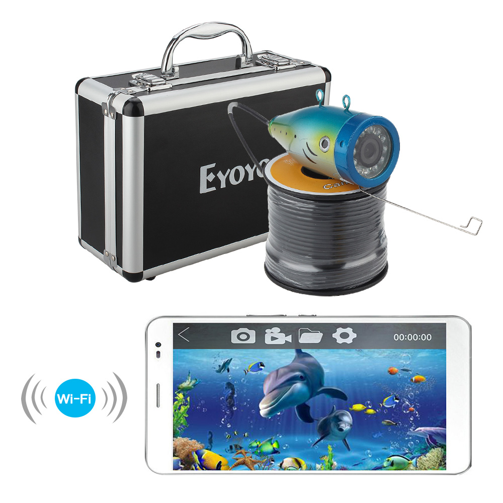 Eyoyo Original 30M Wireless WIFI Fish Finder Underwater Fishing Video Camera Ocean/Boat/Ice Fishing 12PCS White LED for IOS 2 4g wireless fish finder underwater fishing camera video free soft app 50m underwater breeding monitoring for fish searching