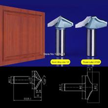 2pcs/set 12.7*32.7mm Bevel milling cutter+12.7*42mm Door frame knife Chest/Door wood flat edge trimmer milling cutter  4722