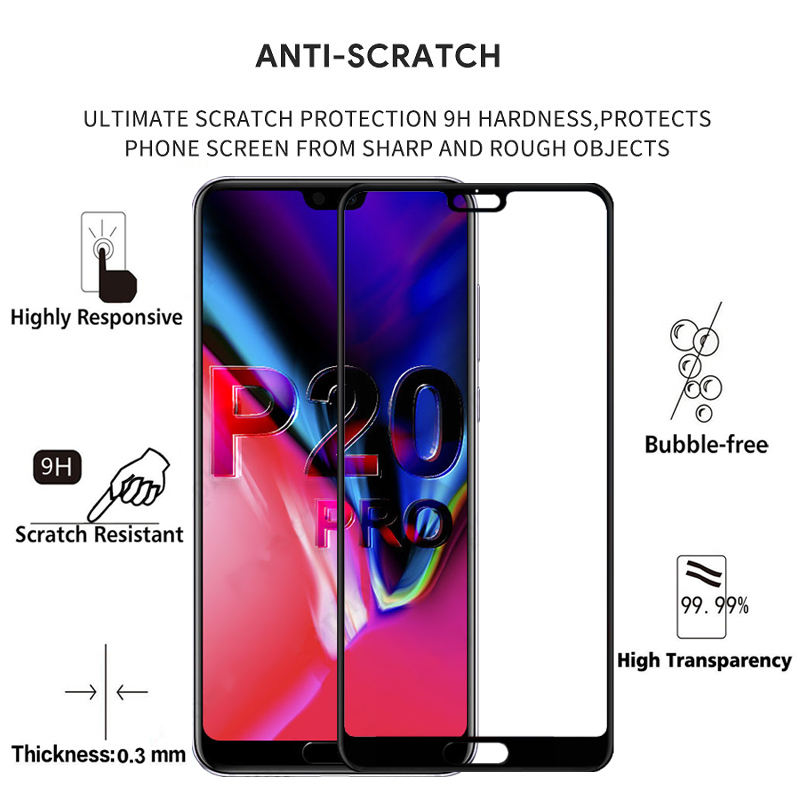 Image 2 - 2PCS 100% Original Full Cover Screen Protector 9H on Protective Glass for Huawei P20 Pro Tempered Glass Case For CLT AL01 Film-in Phone Screen Protectors from Cellphones & Telecommunications