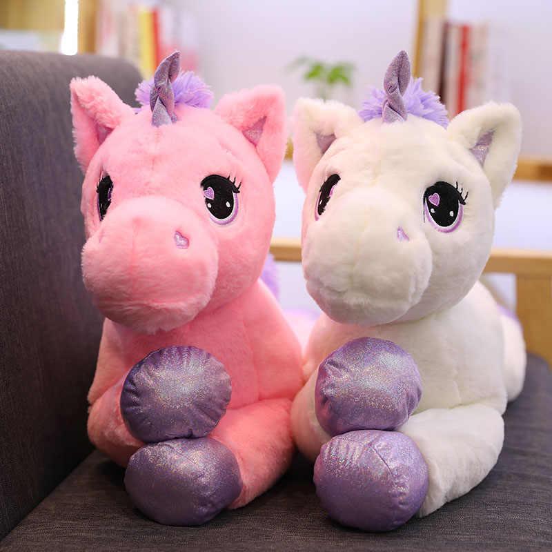 60/80/110cm adorável unicórnio brinquedos de pelúcia macio recheado dos desenhos animados unicórnio bonecas animal bonito cavalo brinquedos para crianças meninas presente