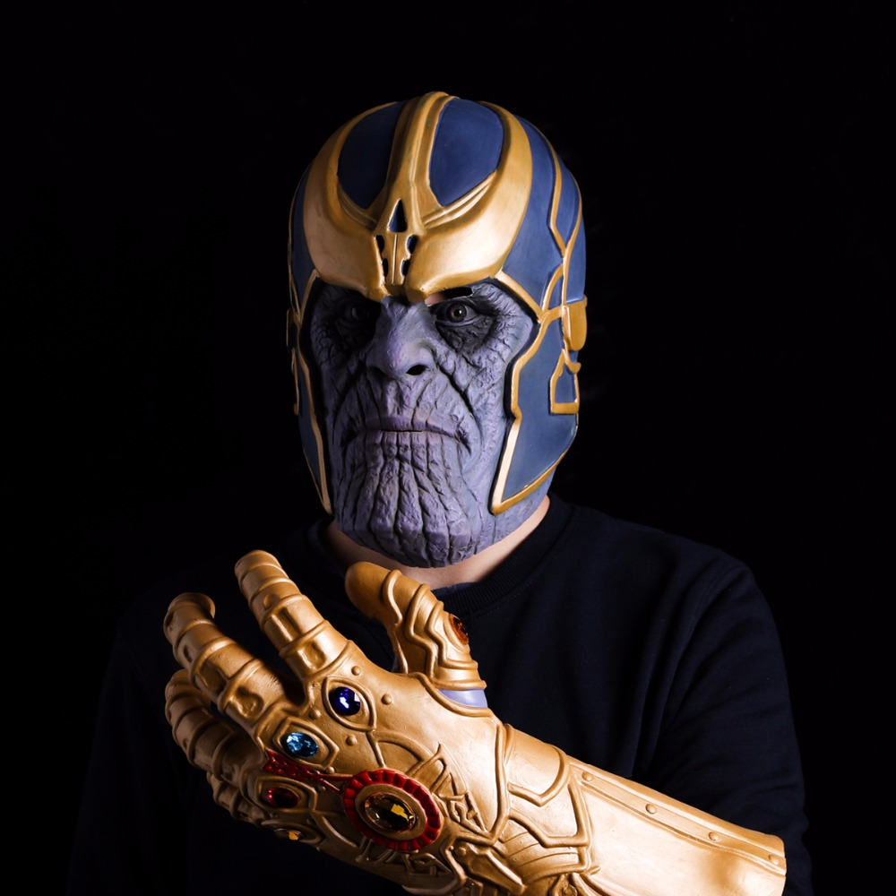 Avengers Infinity War Cosplay Costumes Thanos Latex Mask Infinite gloves Infinity Gauntlet Halloween Masks For Adlut