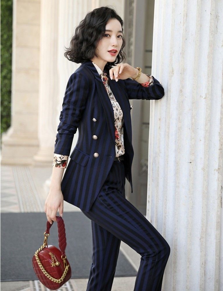 High Quality Fabric Novelty Wine Striped Women Business Suits with Pants and Blazer Coat Autumn Winter Professional Pantsuits 6