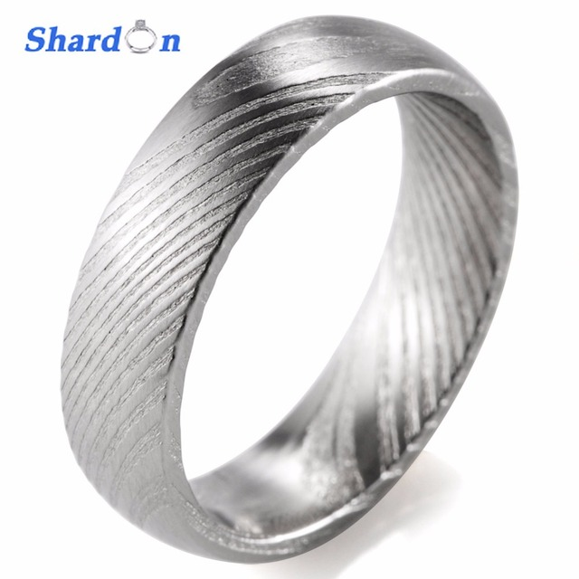 SHARDON Wedding engagement jewelry Mens rings 6mm trendy Damascus