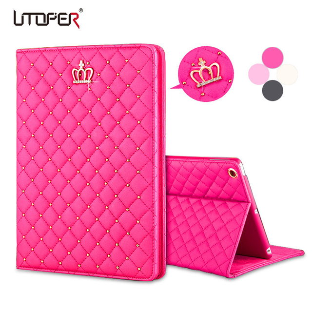For iPad 2 3 4 Luxury Crown Grid PU Leather Cover For apple ipad 3 ipad 4 Wake Up Sleep Smart Stand Full Body Bag Tablet Case