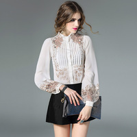 2017 High Quality New Retro Floral Embroidered Silk Blouse Hit Color Womens Business Office Hollow Out Sexy Blouses Shirts