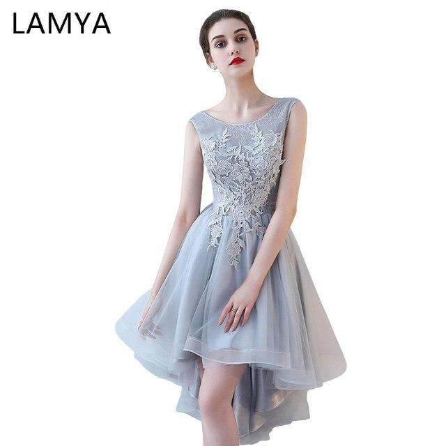 250ee3c13 LAMYA Vintage High Low Prom Dresses Women Elegant Evening Party Dress Lace  Short Front Long Back Formal Gown vestido de festa
