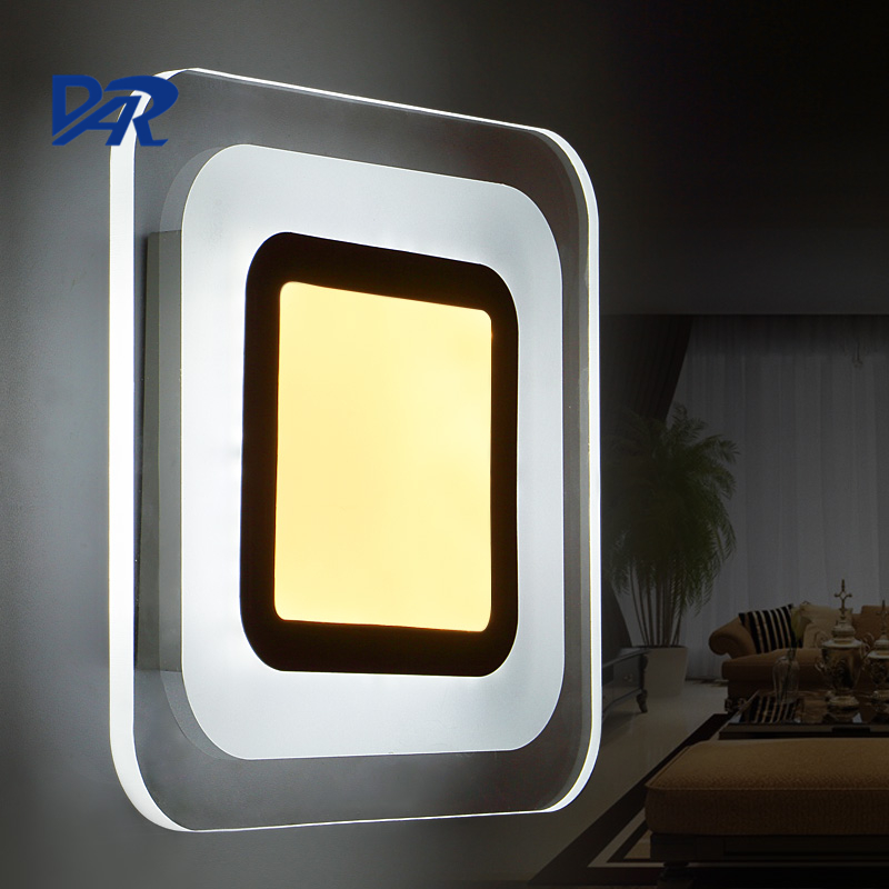 Hot Fashion Square Acrylic Led Wall Light 17W Bedroom Lamp Wandlamp Lamp Modern Sconce Applique Murale Luminaire Free Shipping modern brief led aisle wall lamps bedroom bedside sconce lamp double acrylic applique murale abajur de parede for home deco