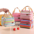 2015 Insulated Cold Canvas Stripe Picnic Totes Carry Case waterproof picnic neoprene lunch bag for kids