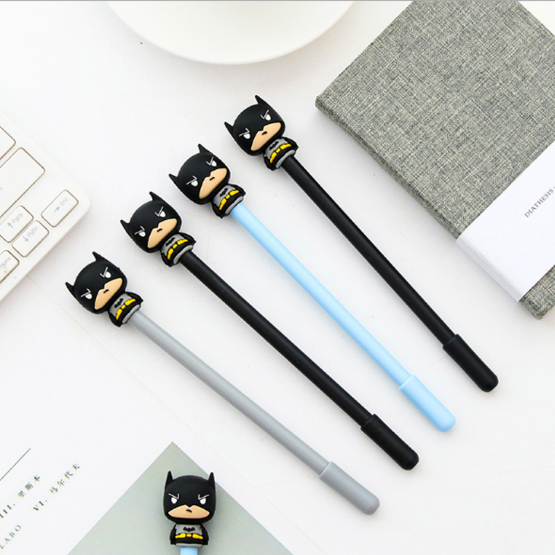 3pcs/lot Creative Super hero office neutral pen childrens gift kawaii caneta free shipping School stationery supplies material