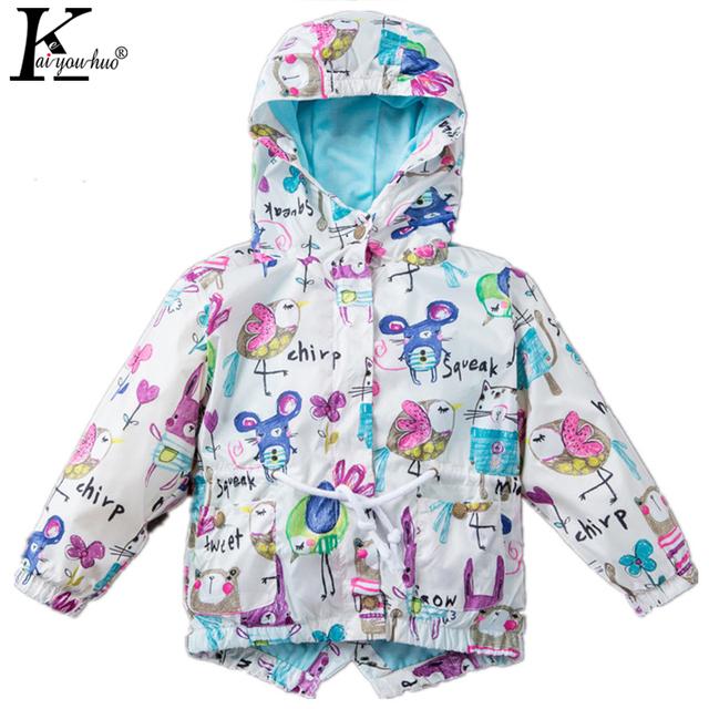 KEAIYOUHUO 2017 Primavera Otoño Ropa Niños Outwear Chaquetas Con Capucha Para Niñas Bebés Capa de La Manera Impermeable de Los Niños Traje