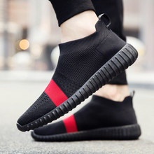 2017 Men Casual Shoes Slip on loafers Spring Autumn Men Mesh Breathable Flats Knitted Shoes Zapatillas Hombre Fashion Sock Shoes