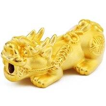 50bda3c0f Chegada nova Pure 999 24 k Solid Gold Amarelo 3D Talão Pixiu Pingente  0.4-0.5g tamanho Pequeno