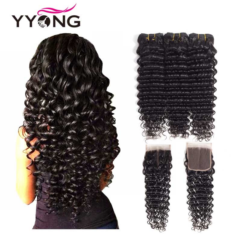 Yyong Hair brasilianske Deep Wave Human Hair 3 Bundles med 4 * 4 - Menneskehår (sort)