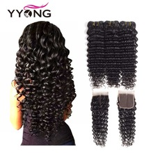 Yyong Hair Brazilian Deep Wave Människohår 3 Bundlar Med 4 * 4 Gratis Part Snittlås Ej Remy Hair Natural Color Gratis frakt