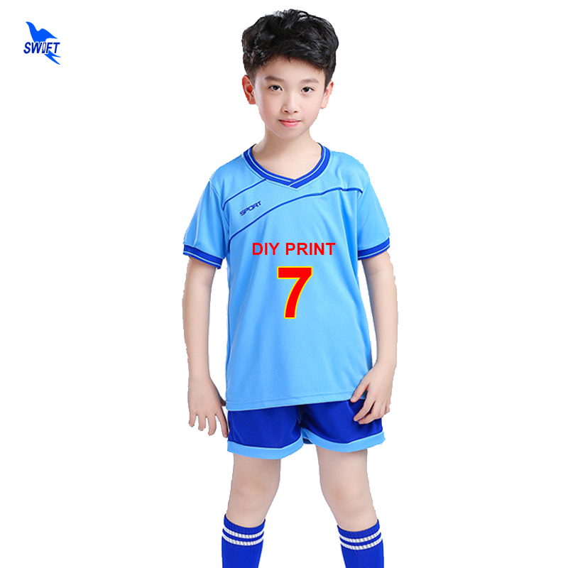 DIY Print 2020 Football Match Sportswear Kids Soccer Team Jerseys Set Men Boy Training Sport Kits Quick Dry Futbal Uniforms Sets