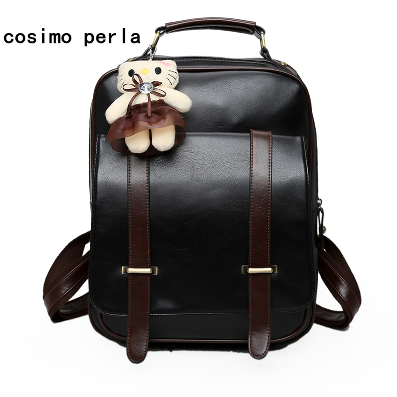 Retro Leather Women Backpack with Bear Large England Preppy Style Bookbags Fashion Casual Travel Backpacks Square Laptop BagpackRetro Leather Women Backpack with Bear Large England Preppy Style Bookbags Fashion Casual Travel Backpacks Square Laptop Bagpack