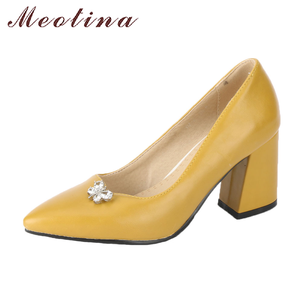 Meotina Thick High Heels Shoes Women Pumps Yellow Crystal Party Shoes Spring Slip On Pointed Toe Ladies Shoes Big Size 44 45 46 meotina women wedding shoes 2018 spring platform high heels shoes pumps peep toe bow white slip on sexy shoes ladies size 34 43