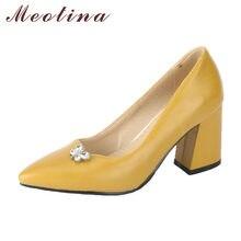 4ab581ef Meotina grueso Tacones altos Zapatos mujeres Bombas cristal amarillo  partido Zapatos primavera resbalón en Punta dedo