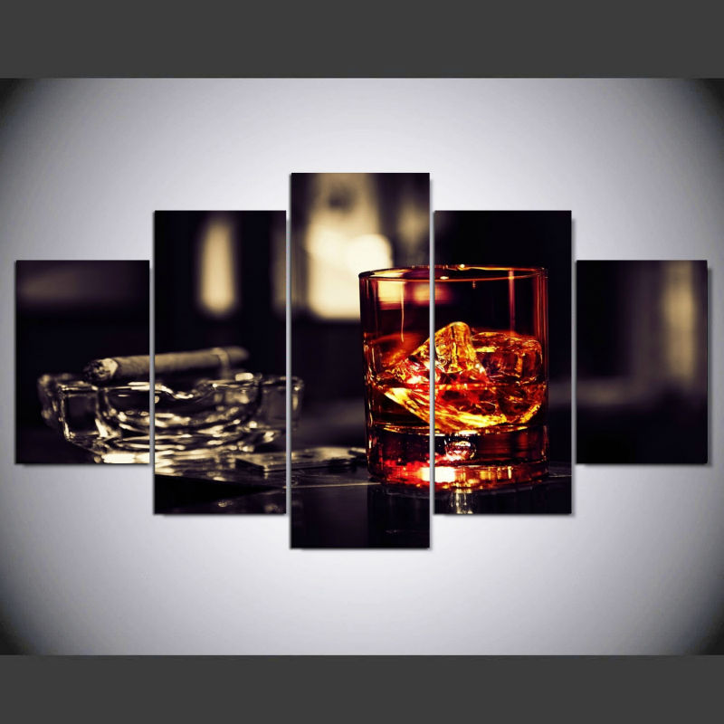 HD Printed whisky ice cigar 5 piece painting wall art childrens room decor poster canvas Free shipping im44