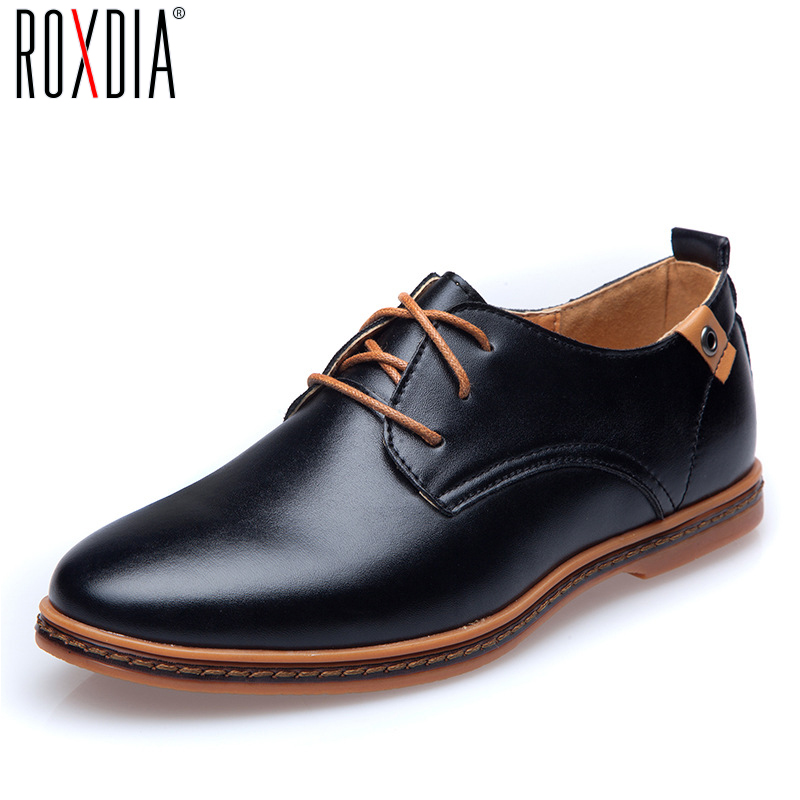 ROXDIA New Fashion Spring Autumn Men Flats Lace-up Casual Waterproof Shoes Work Flat Driver Men's Shoe Plus Size 39-48 RXM936 chilenxas new fashion spring autumn leather men casual shoes breathable lightweight comfortable lace up solid waterproof 2017