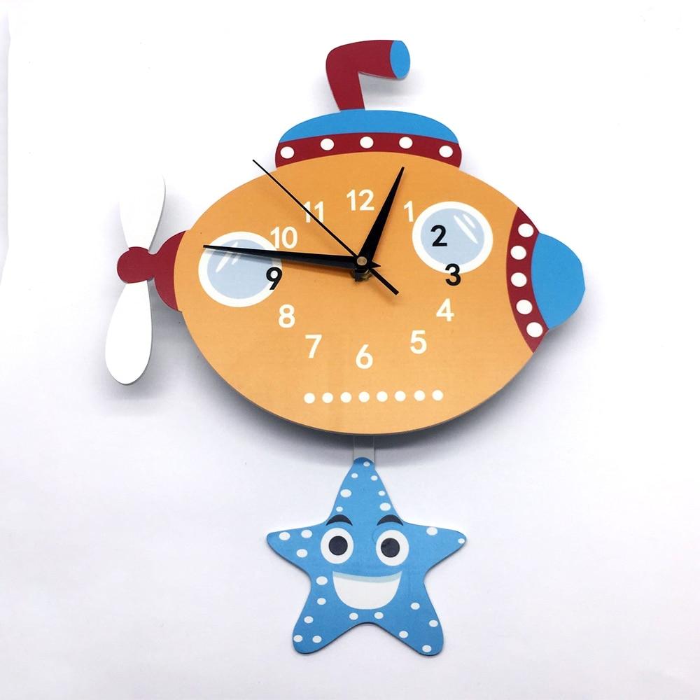 Pendule horloge mignon enfants chambre décalcomanies dessin animé sous-marin motif mousse horloge bricolage silencieux horloge chambre numérique montres