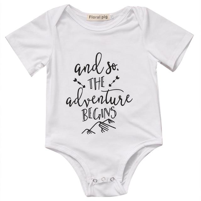 Verano 2017 bebé niñas recién nacido de algodón de manga corta mameluco infantil letra impresa mono ropa
