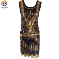 Women S Vintage 1920s Inspired Shining Black With Gold Beaded Sequin Art Deco Flapper Dress Perfect