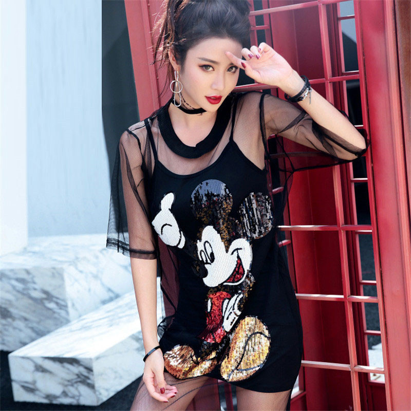 Women Two-piece Suits Mickey Dress Sequin Mesh Tshirt Black With Sequins 2 Piece Set Slim O Neck