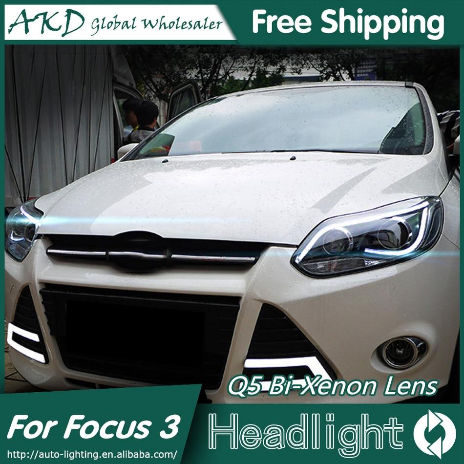 DX Car Styling for Focus Headlights 2012-2014 TLZ Focus 3 LED Headlight DRL Bi Xenon Lens High Low Beam Parking Fog Lamp