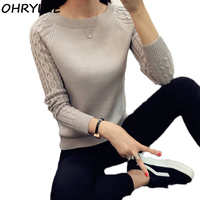 OHRYIYIE 2017 Autumn Winter Solid Knitted Sweaters And Pullovers Women Jumper Long Sleeve Pullover Female Tricot