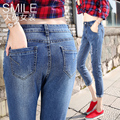 2016 Autumn highwaist jeans Women's Blue Skinny Jeans Summer Stretch Denim Trousers Women Plus Size Pencil Pants Jeans for Women
