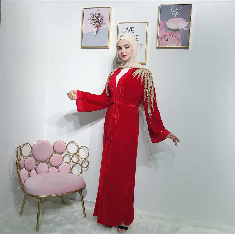 Дубай бархат абайя женское кимоно кафтан мусульманское длинное Открытое платье кардиган исламский джильбаб халат арабский v-образным вырезом бисером Рамадан Новый