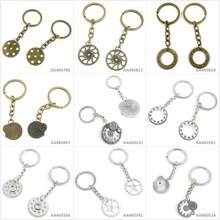 Antique Bronze Silver Tone Keychain Keyring Keytag Gear Wheel Movement Gearwheel Cog Steampunk Key Chain Ring Tag Jewelry Charms(China)