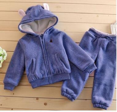2017 Tracksuit For Girls Kids Clothes Sports Suit For Boy Winter Clothing Set Girls Clothes Plus Velvet Thicken eaboutique new winter boys clothes sports suit fashion letter print cotton baby boy clothing set kids tracksuit