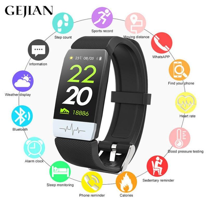 GEJIAN smart watch ECG + PPG dormir pressão arterial monitor de fitness passo rastreador à prova d' água esportes relógio inteligente pulseira Bluetooth