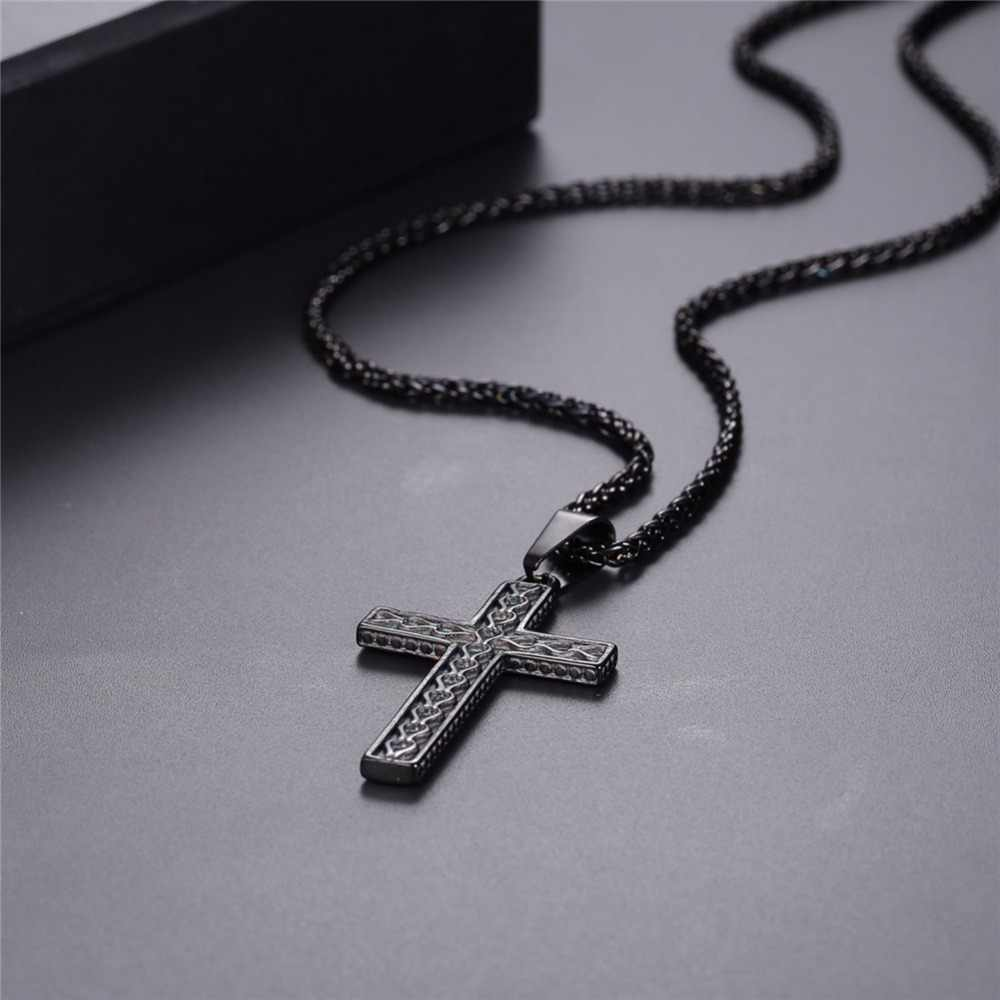 U7 Necklace Stainless Steel Cross Pendant&Chain With Heart Pattern Gold/Black Color Men/Women Christian Jewelry Necklaces P1150