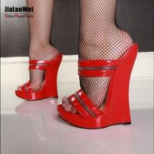 Women Sexy High Wedges Heels Shoes Platform Patent Leather Ankle Strap Sandals Fashion Summer Pumps Ladies Shoes Pluse szie