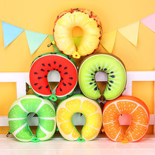 1pcs 6 Colors Fruit U Shaped Pillow Protect the Neck Travel Watermelon Lemon Kiwi Orange Pillows Cushion(China)
