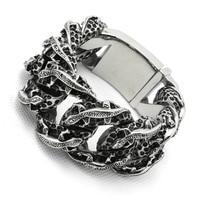 30MM 275g Huge Heavy Mens Boys 316L Stainless Steel Cool PUNK Gothic Lizard Links Silver Bracelet Newest Design