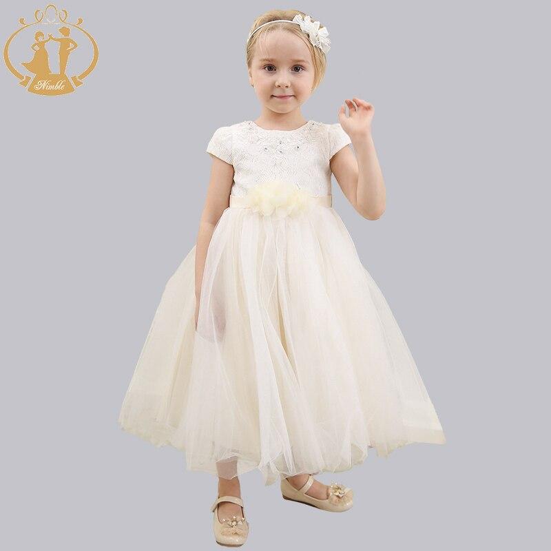 Katoen baljurk meisjes jurk bloem meisjes jurk bruiloft optocht - Kinderkleding