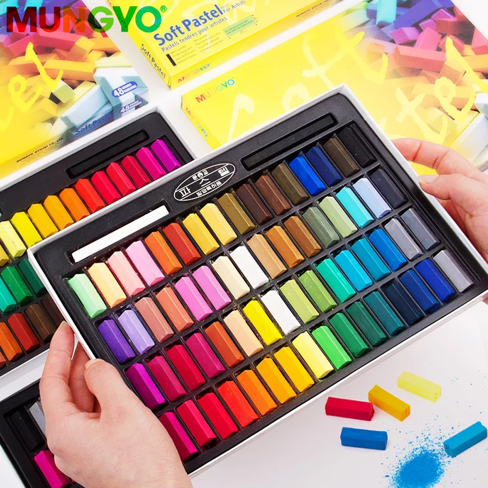 Mungyo mini pastel macio 24 32 48 64 cores giz de cera para artista estudante grafite pintura caneta escola artigos de papelaria arte suprimentos