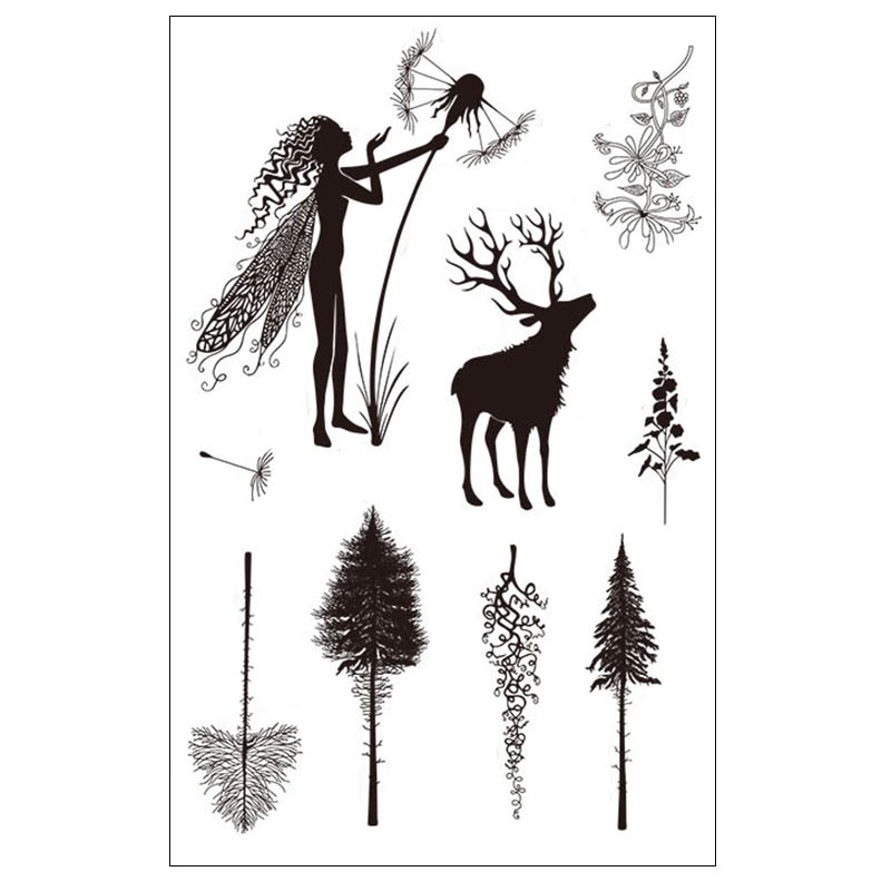 Fairy Dandelion Arrow Deer Plant Transparent Clear Stamp For DIY Scrapbooking/Card Making/Kids Christmas Fun Decoration Supplies