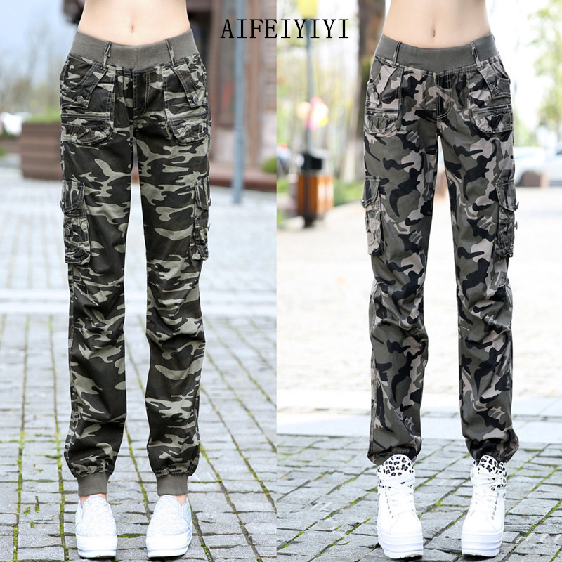 Womens Workout Camouflage Military Harem Cargo Jeans Pants Denim Overalls Beam Baggy Pant Ladies Loose Multi-pocket Trousers