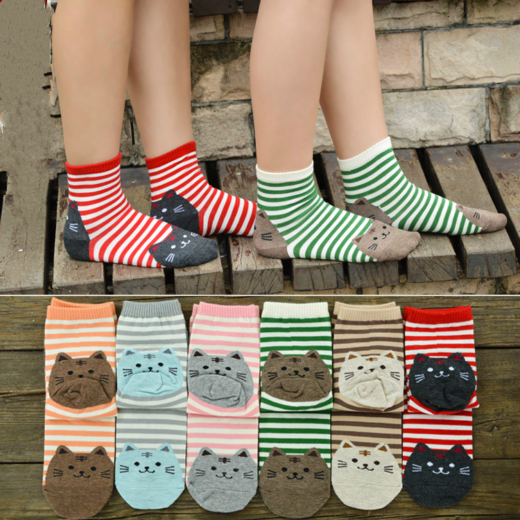 2018 new cartoon socks women cotton tube socks fashion cat fun tide socks