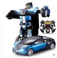Kingtoy Blue USB Charging RC Car Remote Control Deformed Car Robot Flash Changeable Toy