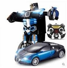 Kingtoy синий зарядка через USB RC автомобиль Дистанционное управление деформированного автомобиля Робот флэш-сменные игрушка